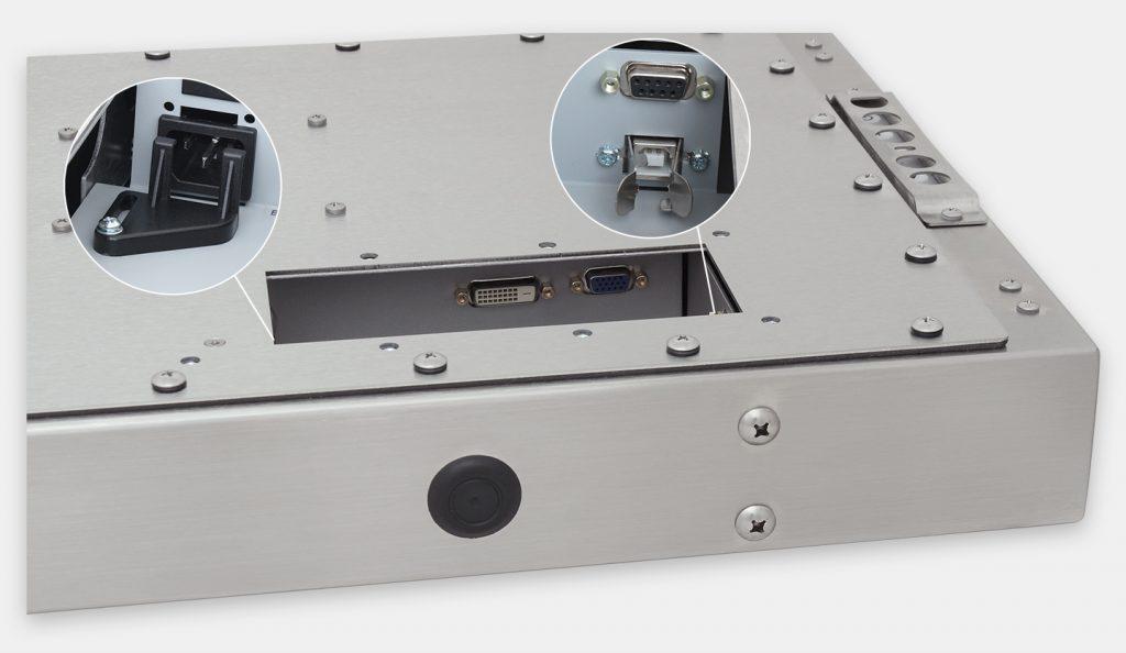 """Écrans 23"""" grande largeur totalement encastrés à montage universel pour usage industriel et écrans tactiles robustes IP65/IP66, vue de la sortie du câble CA"""