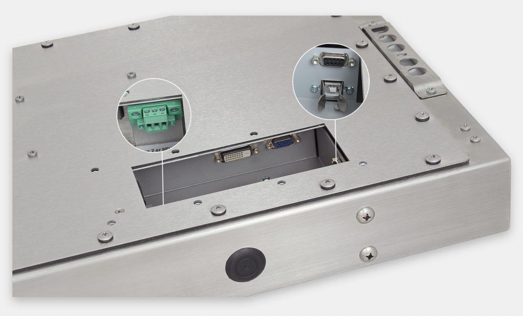 """Écrans 23"""" grande largeur totalement encastrés à montage universel pour usage industriel et écrans tactiles robustes IP65/IP66, vue sortie de câble CC"""