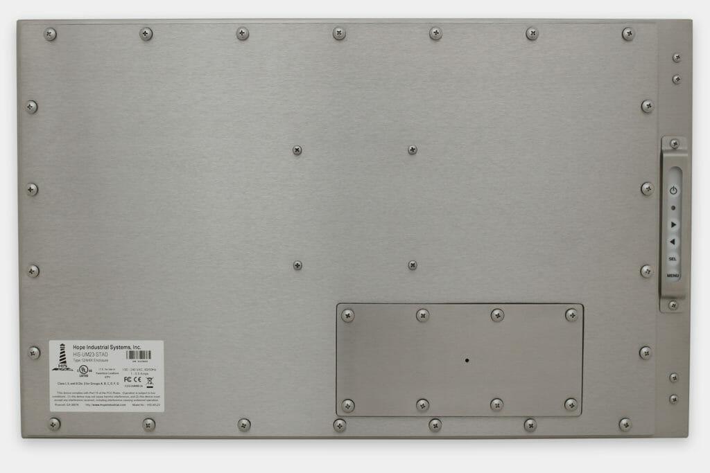 """Écrans 23"""" grande largeur totalement encastrés à montage universel pour usage industriel et écrans tactiles robustes IP65/IP66, vue arrière"""