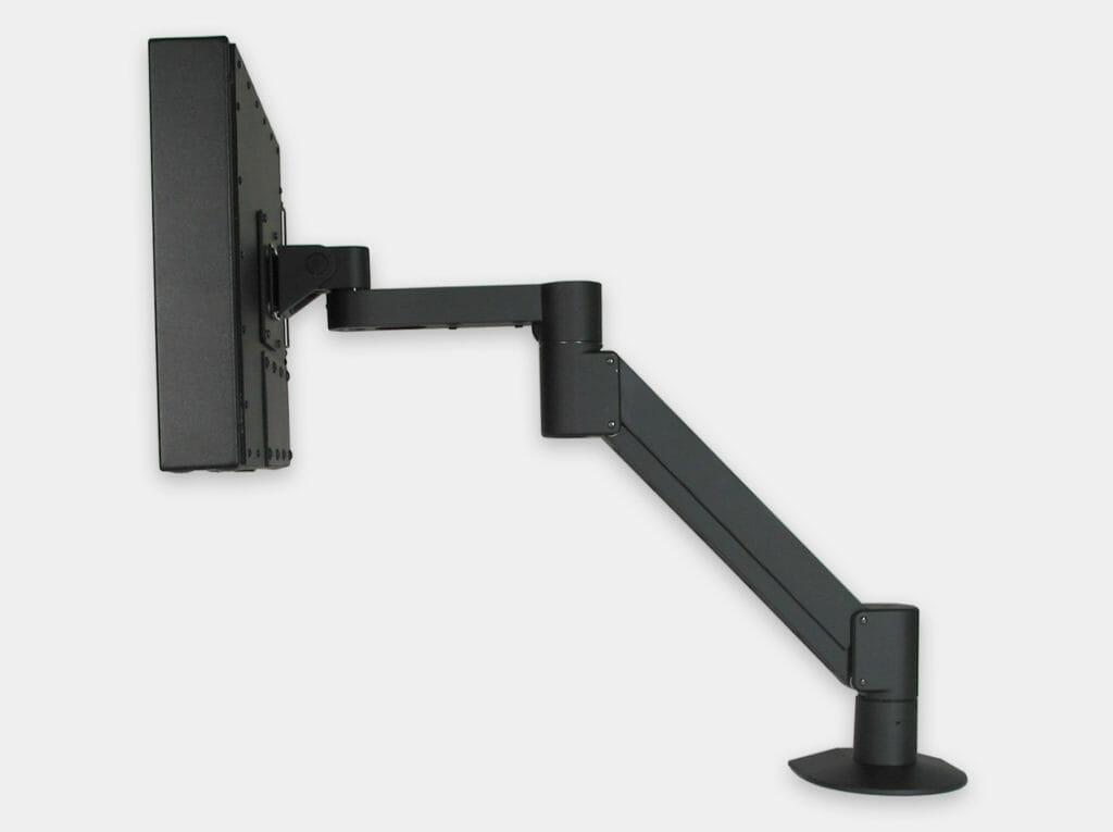Montage VESA à bras latéral pour écrans industriels, vue de côté avec écran