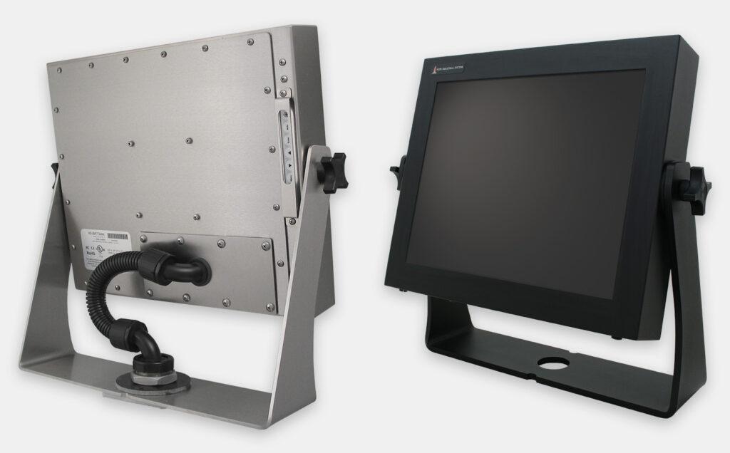 Options de montage articulé pour plan de travail à usage industriel intensif pour moniteurs à montage encastrable universel, conforme IP65/IP66, acier inoxydable et acier doux à revêtement noir