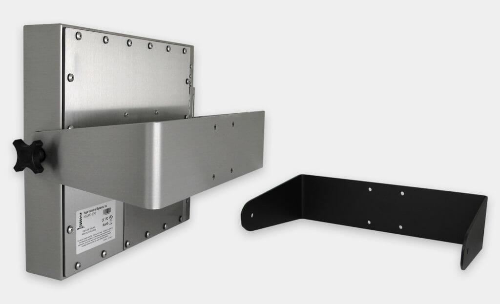 Montages muraux articulés à usage industriel intensif pour moniteurs à montage encastrable universel, conformes IP65/IP66