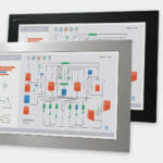 """Écrans 22"""" à large écran à montage encastrable en façade pour usage industriel et écrans tactiles robustes IP65/IP66, vues avant et latérale"""