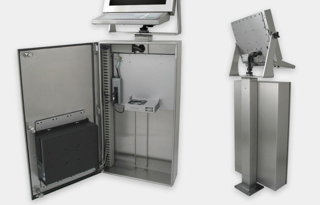 Enceinte industrielle pour PC à usage commercial/industriel, vue en gros plan du kit générique de ventilateur, vue intérieure et arrière