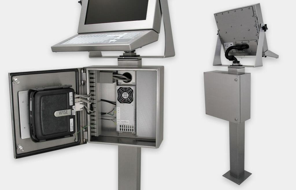 Enceintes industrielles pour clients légers et mini PC, gros plan avant et arrière
