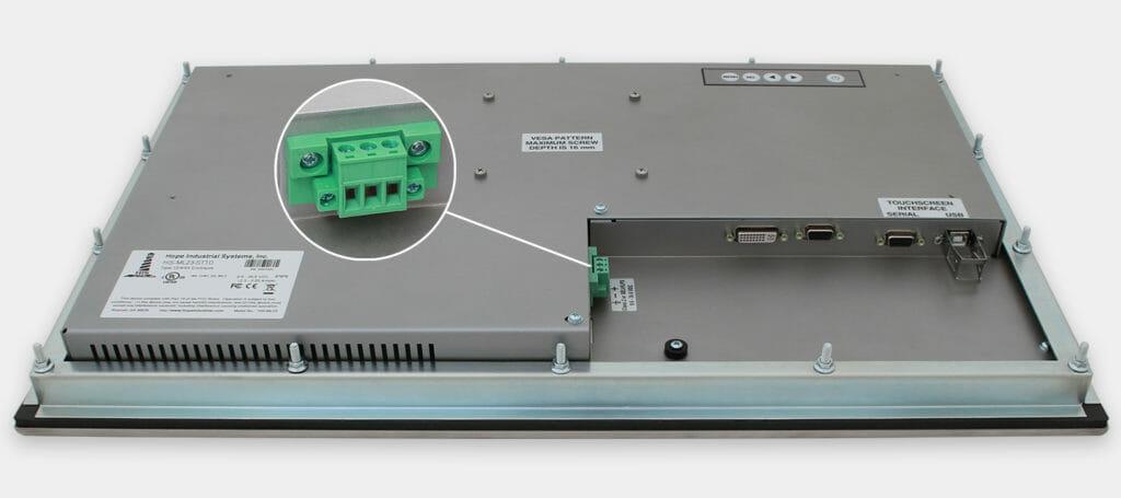 """Écran 23"""" de grande largeur à montage encastrable en façade à usage industriel et écrans tactiles robustes, homologués IP65/IP66, alimentation CC"""
